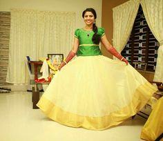 3878721a1ed1f5 Onam green Traditional Skirts, Kasavu Saree, Kerala Saree, Wedding Wear,  Lehenga,