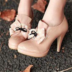 Fantastic Bowknot Apricot PU Round Closed Toe Stiletto Heel High Heel Boots