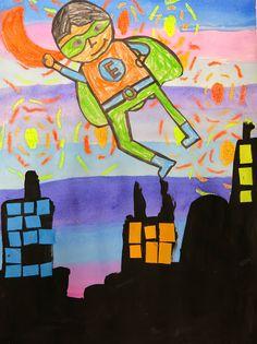 Cassie Stephens: In the Art Room: Super Hero Selfies in Second Grade Superhero Art Projects, Group Art Projects, Diy Projects, 2nd Grade Art, Second Grade, Kindergarten Art Projects, Kindergarten Fun, Primary School Art, Self Portrait Art