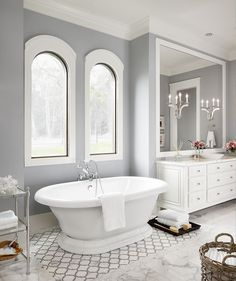 Spa By Sherwin Williams Paint Color Bathroom Design Ideas, Pictures, Remodel and Decor - mindful gray White Bathroom Tiles, Bathroom Paint Colors, Bathroom Tile Designs, Yellow Bathrooms, White Tiles, Bathroom Flooring, Bathroom Furniture, Bathroom Interior, Bathroom Cabinets