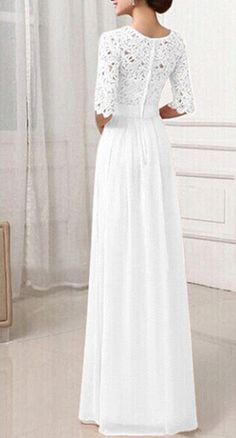 5819a6362d Women s Sexy Lace Long Sleeve Destination Bridal Fashion Beach Wedding Dress