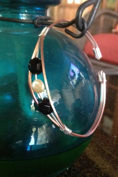 Copper sterling silver wire wrapped cuff bracelet with pearl and black onyx beads
