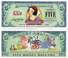 Disney dollars that you can trade cash for and use at Disney. Nice Keepsake or for child to have to spend. Retro Disney, Vintage Disney, Disney Art, Walt Disney, Disney Pixar, Disney World Trip, Disney Vacations, Disney Trips, Disney Money