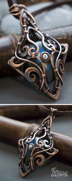 Copper wire wrapped necklace with blue labradorite