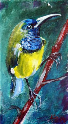 ARTFINDER: Bird by Kovács Anna Brigitta - Mini artwork.  Original acrilyc painting on canvas paper. I love landscapes, still life, nature and wildlife, lights and shadows, colorful sight. These thin...