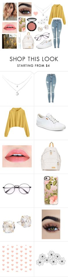 """""""Untitled #9"""" by jellymcfarland on Polyvore featuring Topshop, ECCO, LORAC, Eastpak, Casetify, Kate Spade and WALL"""