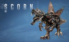 "A newly created Transformer for ""Age of Extinction"", Scorn takes the shape of a Spinosaurus who is not only as vicious as his two-legged leader, but is also the demolition expert of the Dinobots. Description from cinema.com.my. I searched for this on bing.com/images"