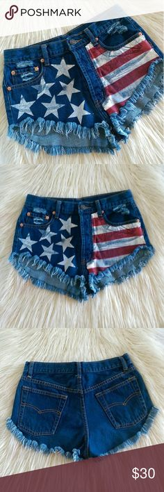 Americana Frayed Hem Denim Cutoffs American flag graphic printed denim cutoffs. Frayed hem and distressing detail. Classic 5-pocket and all button fly. Waist measures 13' flat across. Length is 15'.   Excellent condition.  Open to offers. No trades. No modeling. Signature8 Shorts Jean Shorts