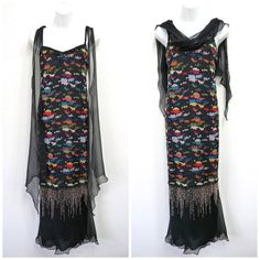 Vintage HOLLY HARP Maxi Black Dress Flapper by KMalinkaVintage