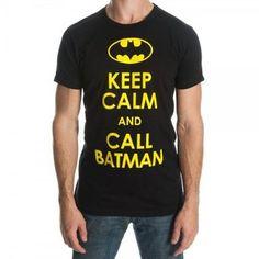 DC Batman Men's Tee Shirt Keep Calm and Call Batman Small