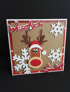 DEKORJA: Kartka świąteczna z reniferem.