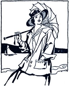 **FREE ViNTaGE DiGiTaL STaMPS**: Free Digital Stamp - Umbrella Hat Lady