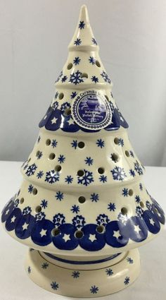 Polish Pottery Mosaic Flower Christmas Tree Luminary Zaklady http ...