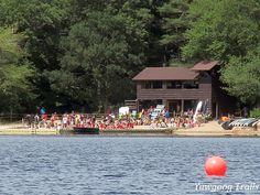 The Sandy Beach Swim Carnival, as viewed from the ledge near Campsite Donald C. Dewing, at Camp #Yawgoog!  A 2015 image by David R. Brierley.