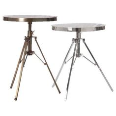 Barbara Cosgrove X-hi-hat End Table Shiny Nickel By (€320) ❤ liked on Polyvore featuring home, furniture, tables, accent tables, nickel table, adjustable table and barbara cosgrove