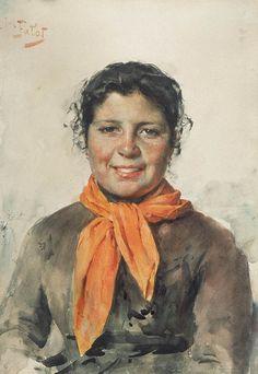 """Julian Fałat, cir. 1883, watercolor on paper, """"Girl in orange scarf"""""""