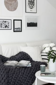 Monochrome living room, cozy chunky throw from Ohhio