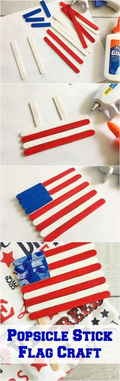 Cute and easy patriotic craft - Popsicle Stick Flag Craft