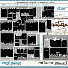Cindy's Layered Templates - Fun Frames: Nature 3 by Cindy Schneider Frame Template, Layout Template, Drop Shadow, Multi Photo, Scrapbook Templates, Page Layout, Digital Scrapbooking, Cool Photos, Frames