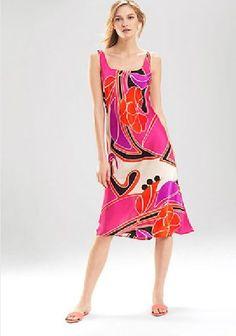 ba624d0b7e NWT N Natori Pink Deco Floral Satin Charmeuse Gown Pajama Nightie SM 6-8  6