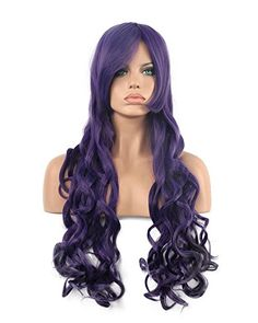 Diy-Wig Mixed Purple Long Full Beautiful Classic Curly Long Bang Full Head Wigs for Women Synthetic Cosplay Party Wig Curly Long Bangs, Curly Wigs, Purple Wig, Dark Purple, Diy Wig, Long Wigs, Wig Cap, Cosplay Wigs, Hairstyles With Bangs