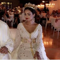 Image may contain: 1 person, standing, wedding and indoor Morrocan Wedding Dress, Morrocan Dress, Moroccan Bride, Couture Dresses, Bridal Dresses, Bridesmaid Dresses, Prom Dresses, Kaftan Moroccan, Arabic Dress