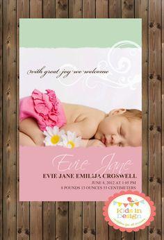 Baby Girls Printable Birth Announcement - Digital Jpg File on Etsy, $18.00 AUD