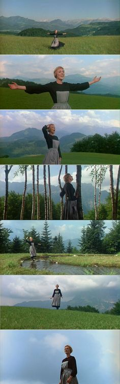 The Sound of Music 1965 Julie Andrews as Maria singing The Sound of Music with a beautiful natural Austrian background.