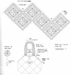 Bolsa em crochê ; purse with granny square motifs