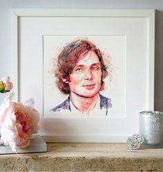 Cillian Murphy Watercolor portrait Celebrities Wall by Artsyndrome