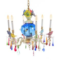 MacKenzie-Childs Merrifield Small Six-Light Chandelier (¥546,045) ❤ liked on Polyvore featuring home, lighting, ceiling lights, multi colors, colorful chandelier, multi colored chandelier, bird chandelier, colorful lamps and bird lamp