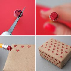 .All you need is a pencil eraser to create this whimsical heart stamp. Use an knife to cut the shape and then press into a red stamp pad .