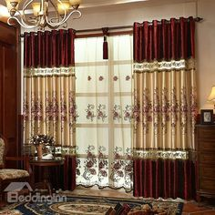 Elegant Wine Red Embroidery Grommet Top Curtain