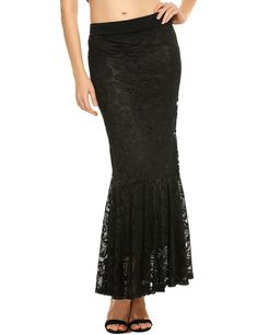 Zeagoo Womens Fishtail Elastic Waist Hollow Floral Lace Long Maxi Mermaid Skirt -- You can find more details by visiting the image link. (This is an affiliate link) Women's Fashion Dresses, Skirt Fashion, Fishtail Skirt, Fashion Socks, Fashion Usa, Womens Fashion, Look Thinner, Mermaid Skirt, Affordable Fashion
