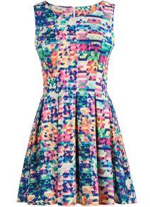 robe sans manche motif géométrique -bleu