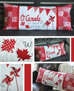 "O Canada! - Kimberbell Bench Pillow Pattern: The adorable ""O Canada"" interchangeable pillow cover by Kimberbell Designs is perfect for those of you that love Canada! Flag Quilt, Patriotic Quilts, Leaf Crafts, Fun Crafts, Quilting Projects, Sewing Projects, Sewing Ideas, Canada Celebrations, Canadian Quilts"