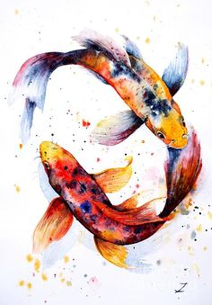 The fish balance each other out, creating a harmonious image.   Harmony. Watercolor by Zaira Dzhaubaeva.