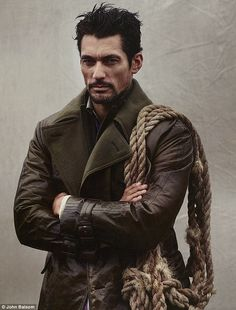 EXCLUSIVE: So THAT's why he's a supermodel! David Gandy is rugged and outdoorsy in first shoot of 2014 | Mail Online