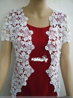 Crochet blossom-edged motifs form this beautiful jacket or cardigan 六角一线连雪花衣 - 夏天 - 夏天