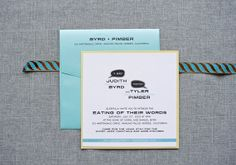 Lime Green and Aqua Blue Quirky Square Wedding Invitation   by Invited by LamaWorks - Every invitation deserves to be custom www.lamaworks.etsy.com