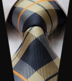 Navy Blue & Khaki Plaid Tie | Handmade from silk |Purple Stripe Tie | Handmade perfect for the office, church, weddings, or date night with a loved one.