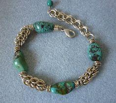 Turquoise bracelet, chainmaille bracelet, beaded bracelet, turquoise jewelry, handmade bracelet, women's bracelet