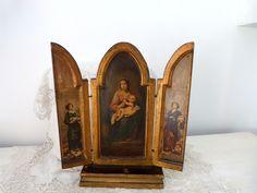 Antique Florentine Italian triptych madonna w child Jesus, BIG travel icon gilded wooden devotional art religious triptych christmas gift