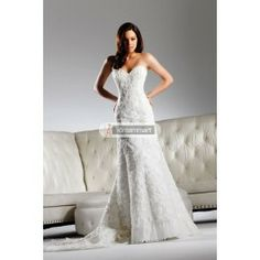 This dress is so beautiful. The price is also right! Sheathy Ivory Stretch Satin Sweetheart Neckline Applique Wedding Gown