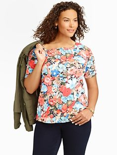 Talbots - Stretch Weekend Mixed-Flowers Bateau Tee | Tees and Knits | Woman Petites