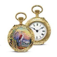 Swiss/Gold, enamel, and diamond-set openface keyless lever pocket watch, circa…