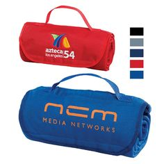 """Roll out your promotional message on this soft and comfortable fleece blanket! Measuring 47"""" x 53"""", this unique blanket folds up into itself and secures with a Velcro closure. The sewn-in nylon carrying strap panel provides great location for an embroidered or screen printed logo, name or custom design of your choosing. Convenient sleeve is included to conceal embroidery. Perfect for sporting events, picnics or a cozy winter snuggle! 12 oz/pc."""