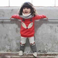 Bán lẻ 2017 Mùa Xuân phong cách Trẻ Sơ Sinh quần áo Dày Quần Áo Đỏ đặt Fox 2 cái (Full Tay Áo + Quần) bé gái quần áo Miễn Phí Vận Chuyển