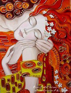 """Купить Картина на стекле """"Поцелуй"""" - комбинированный, поцелуй, Климт, Витраж, Витражная роспись, картина"""