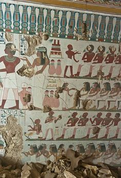 "Ancient Egyptian Tombs With Eye-Popping Murals Discovered In Luxor - ""The first tomb, discovered on Mar. belongs to an Amenhotep (doorkeeper to the Egyptian god Amun) surnamed Rabiu, and his wife, Satamen. Ancient Egyptian Tombs, Egyptian Temple, Ancient Tomb, Ancient Aliens, Ancient Artifacts, Ancient History, European History, Ancient Greece, Luxor"